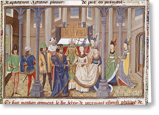 Royal Wedding Greeting Cards - Marriage Of King John I Of Portugal Greeting Card by British Library