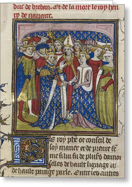 Royal Wedding Greeting Cards - Marriage Of King Philip Iii Of France Greeting Card by British Library