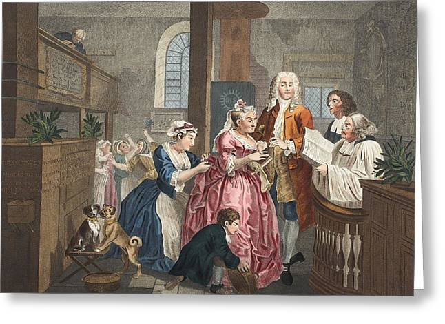 Morality Greeting Cards - Married To An Old Maid, Plate V From A Greeting Card by William Hogarth
