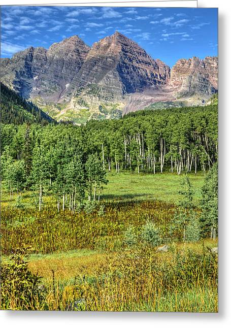 Mountains And Lake Greeting Cards - Marron Bells National Preserve Greeting Card by Ken Smith