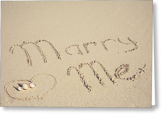 Will You Marry Me Greeting Cards - Marry me sign on the sand at the seaside Greeting Card by Maria Feklistova