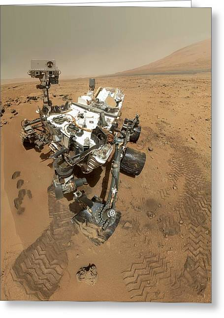 Curiosity Rover Greeting Cards - Mars Curiosity rover self-portrait Greeting Card by Science Photo Library
