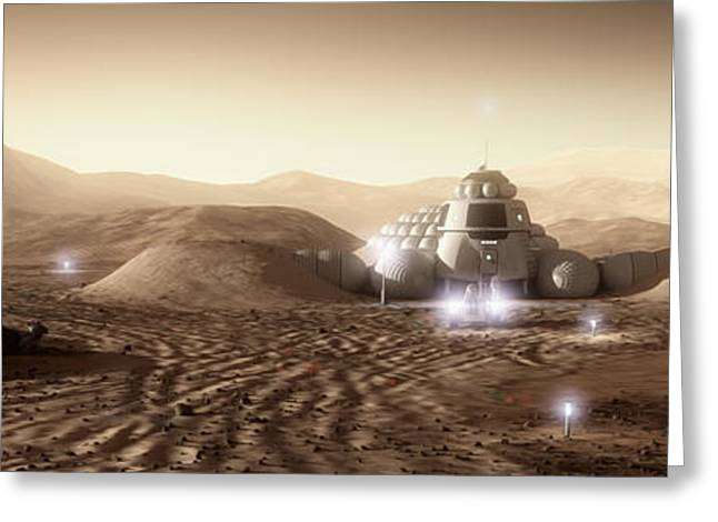 Astronauts Mixed Media Greeting Cards - Mars Habitat - Valley End Greeting Card by Bryan Versteeg