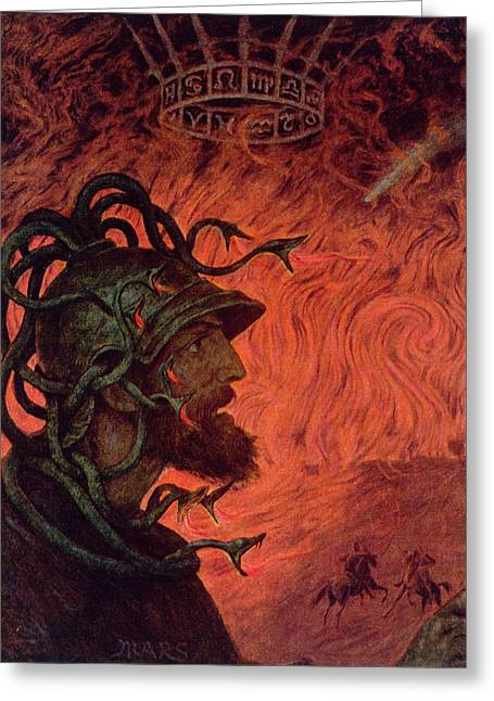 Medusa Paintings Greeting Cards - Mars Greeting Card by Hans Thoma