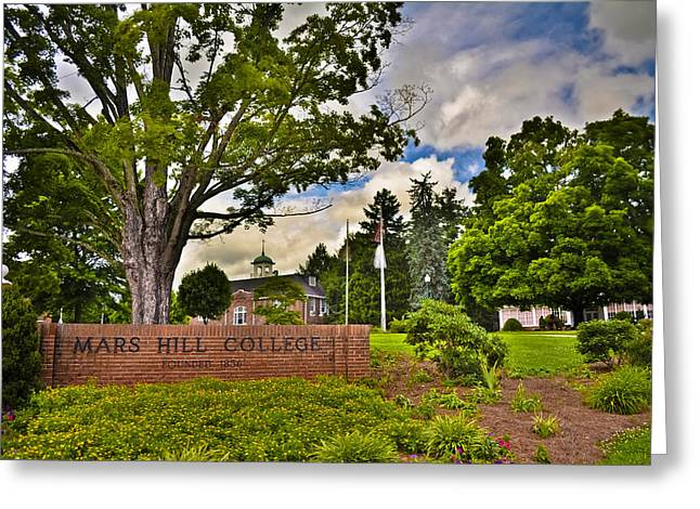 Mars Hill College Sign Greeting Card by Ryan Phillips