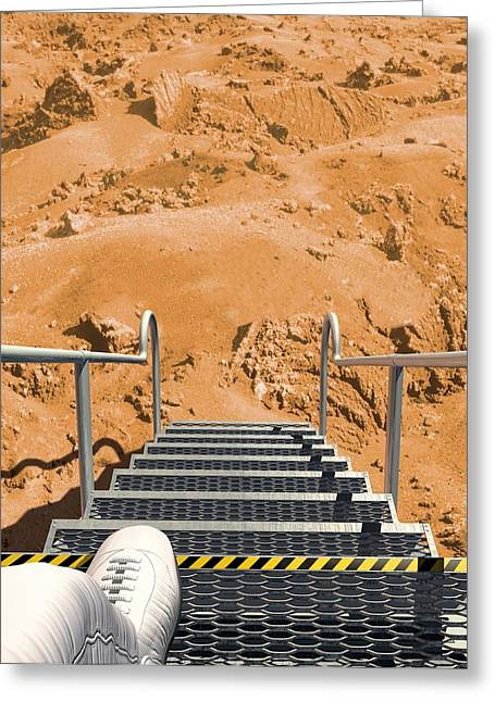 Aeronautical Greeting Cards - Mars landing, artwork Greeting Card by Science Photo Library
