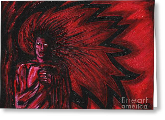 Warrior Goddess Greeting Cards - Mars Rising Greeting Card by Roz Abellera Art