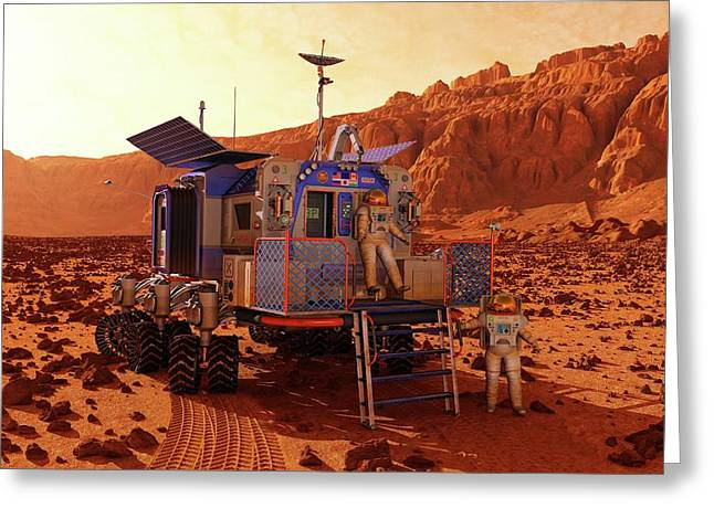 Mars Rover Canyon Greeting Card by Walter Myers