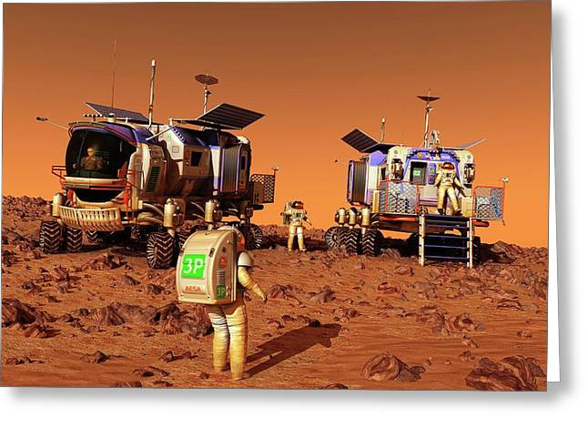 Mars Rovers Rendezvous Greeting Card by Walter Myers