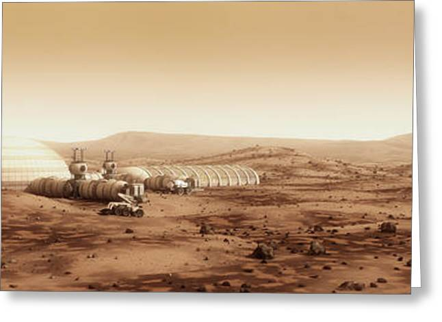 Storm Digital Art Greeting Cards - Mars Settlement Landscape with Farm Greeting Card by Bryan Versteeg