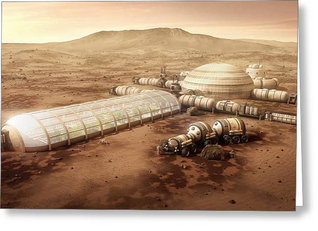Farm Mixed Media Greeting Cards - Mars Settlement with Farm Greeting Card by Bryan Versteeg