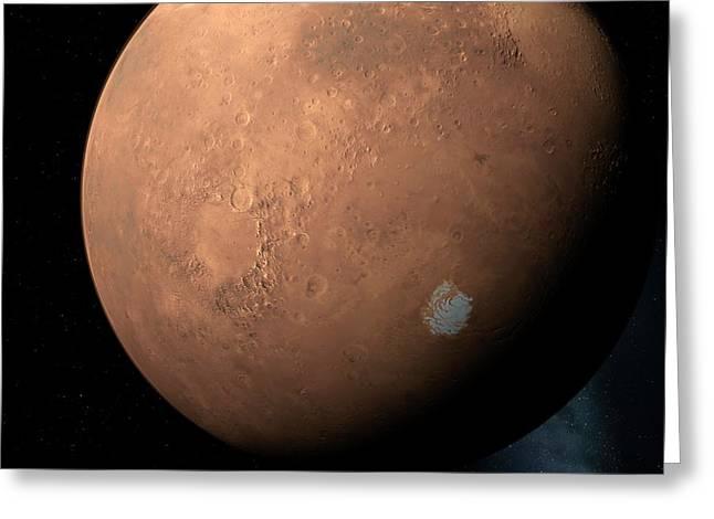 Mars South Pole Greeting Card by Detlev Van Ravenswaay