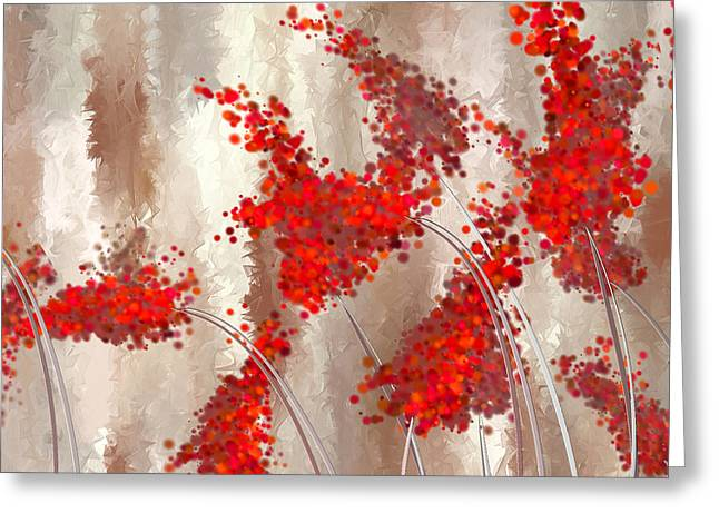 Art-of-living Greeting Cards - Marsala Abstract Greeting Card by Lourry Legarde