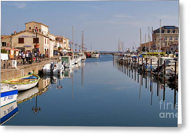 Mediterranean Village Greeting Cards - Marseillan Harbour Greeting Card by Louise Heusinkveld