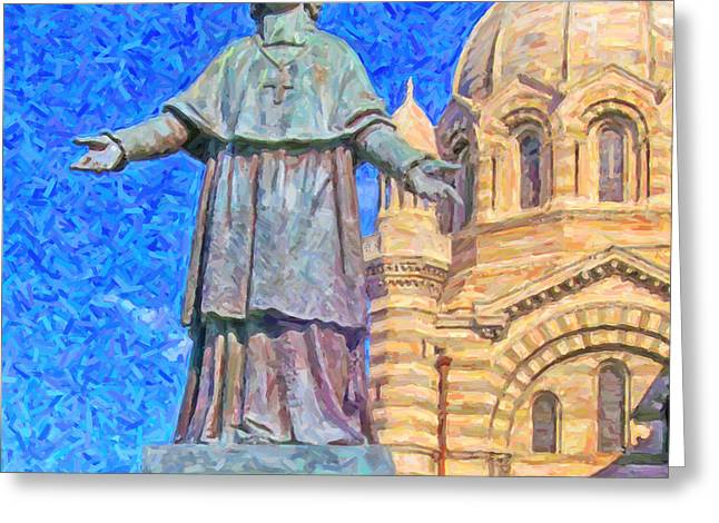 Marseille Cathedral Painting Greeting Card by Antony McAulay