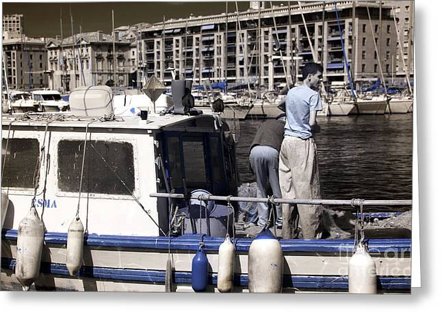 Azur Greeting Cards - Marseille Fishermen Greeting Card by John Rizzuto