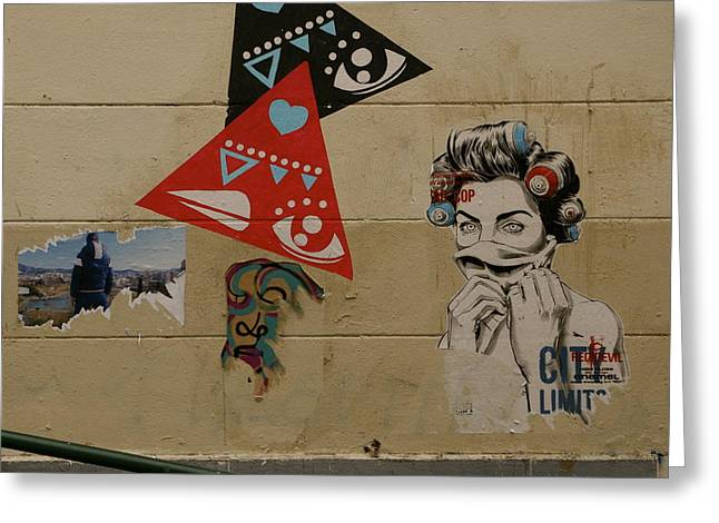 Europe Mixed Media Greeting Cards - Marseille Graffiti Greeting Card by Louise Fahy
