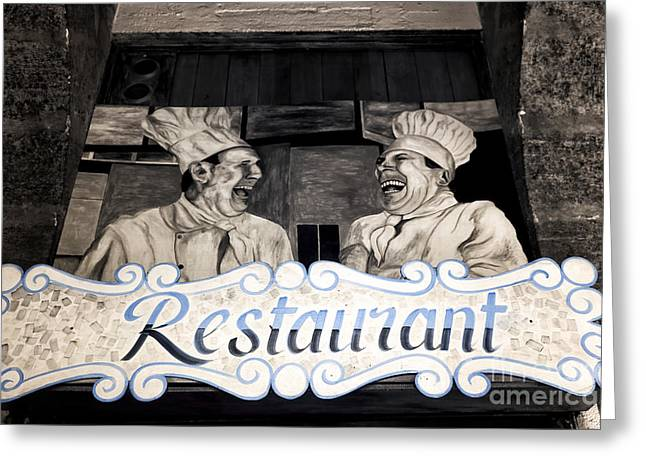 Chef Hat Greeting Cards - Marseille Restaurant Greeting Card by John Rizzuto