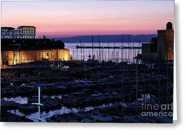 Azur Greeting Cards - Marseille Sunset Greeting Card by John Rizzuto