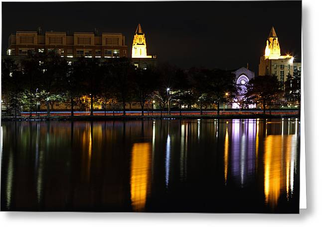 Boston Skyline Photo Greeting Cards - Marsh Chapel Boston University Greeting Card by Juergen Roth