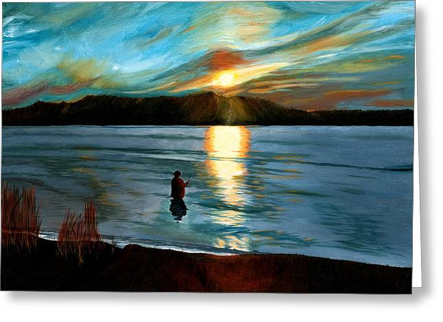 Marsh Creek October Sunset Greeting Card by Phillip Compton