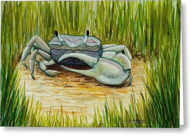 Fiddler Crab Greeting Cards - Marsh Fiddler Greeting Card by Alexandra Nicole Newton