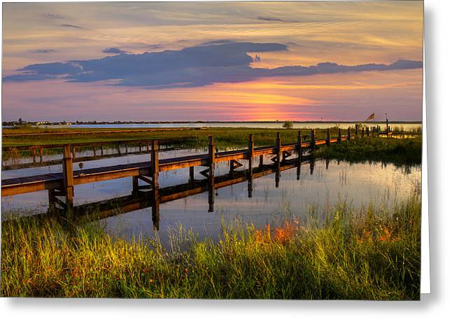 Oceanscape Greeting Cards - Marsh Harbor Greeting Card by Debra and Dave Vanderlaan