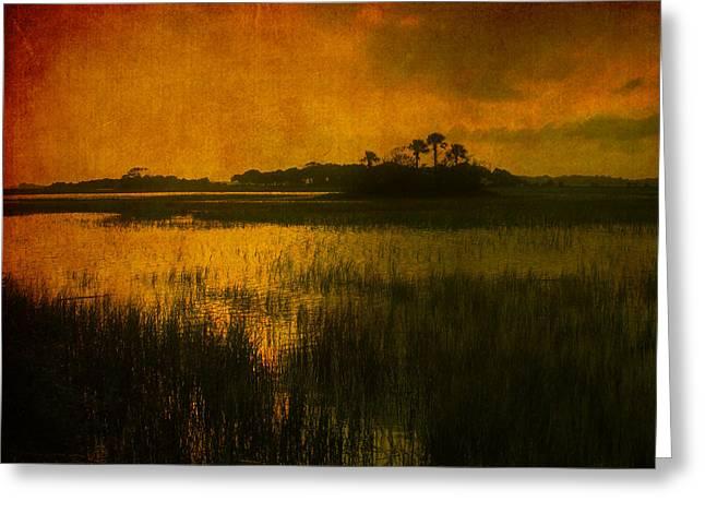 Marsh Scene Greeting Cards - Marsh Island Sunset Greeting Card by Susanne Van Hulst