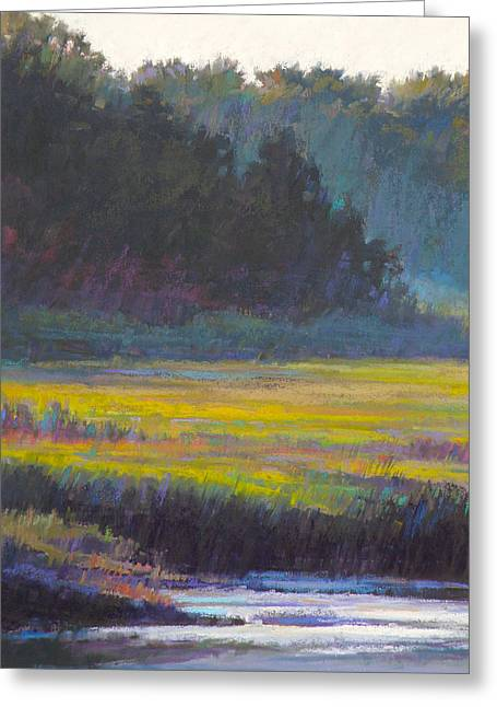 Cape Cod Pastels Greeting Cards - Marsh Land Greeting Card by Ed Chesnovitch