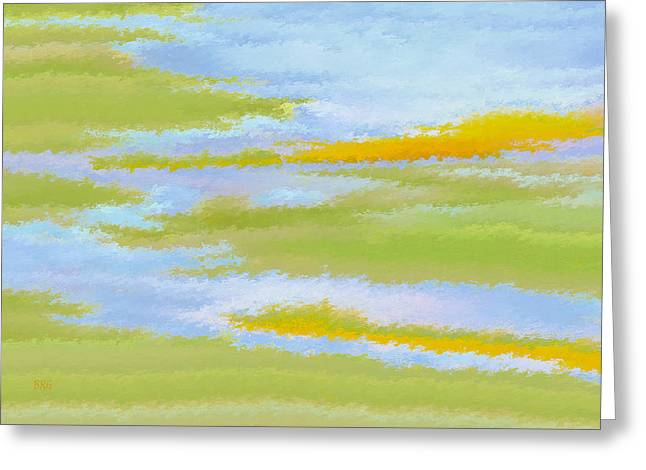 Green And Yellow Abstract Greeting Cards - Marsh Landscape Greeting Card by Ben and Raisa Gertsberg