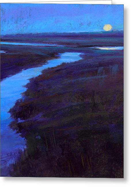 Cape Cod Pastels Greeting Cards - Marsh Moon Greeting Card by Ed Chesnovitch