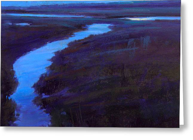 Marsh Moon Greeting Card by Ed Chesnovitch