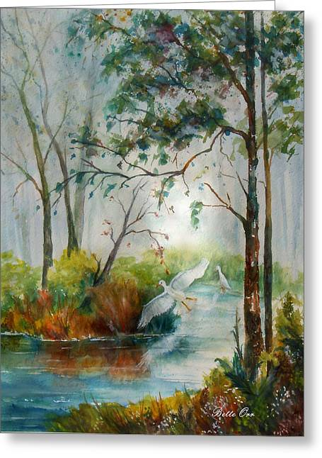 Md Paintings Greeting Cards - Marsh Secrets Greeting Card by Bette Orr