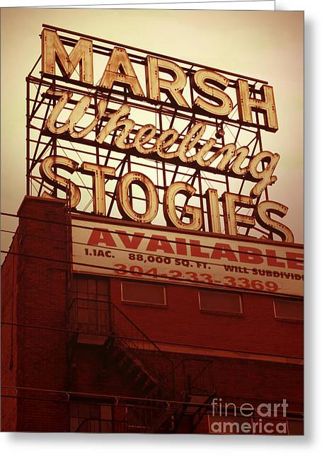 Vacant Greeting Cards - Marsh Stogies Sign Greeting Card by Jim Zahniser