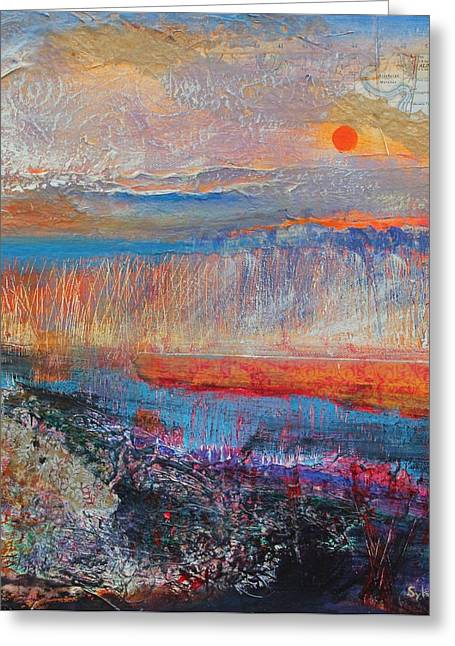 Marsh Greeting Cards - Marsh Sunset 2013, Acrylicpaper Collage Greeting Card by Sylvia Paul