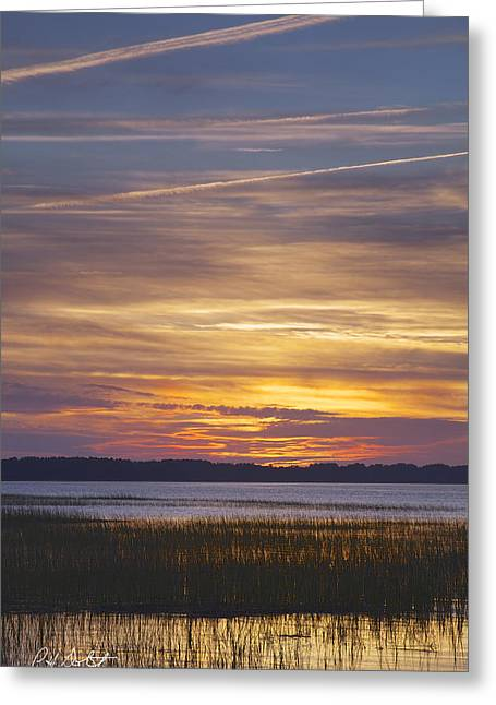 Tidal Photographs Greeting Cards - Marsh Sunset Greeting Card by Phill  Doherty