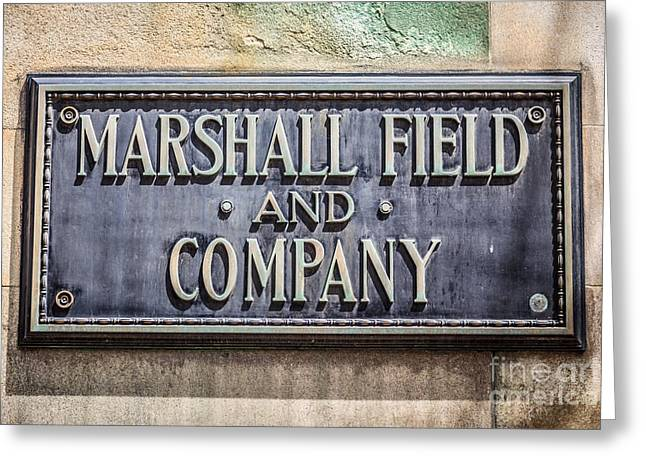 Exterior Wall Greeting Cards - Marshall Field and Company Sign in Chicago Greeting Card by Paul Velgos