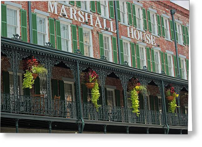 Hanging Baskets Greeting Cards - Marshall House - Savannah Georgia Greeting Card by Suzanne Gaff