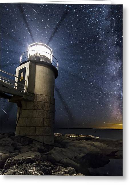 Perseid Photographs Greeting Cards - Marshall Lighthouse and the Night Sky Greeting Card by John Vose