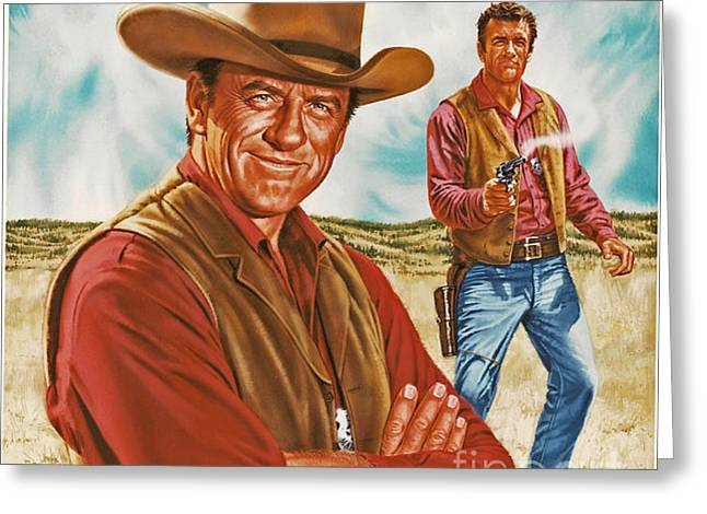 Old Tv Paintings Greeting Cards - Marshall Mat Dillon Greeting Card by Dick Bobnick
