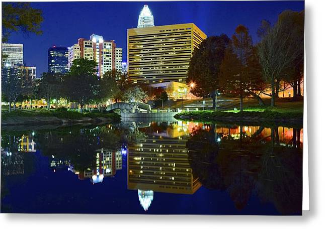 Charlotte Bobcats Greeting Cards - Marshall Park Reflection Greeting Card by Frozen in Time Fine Art Photography