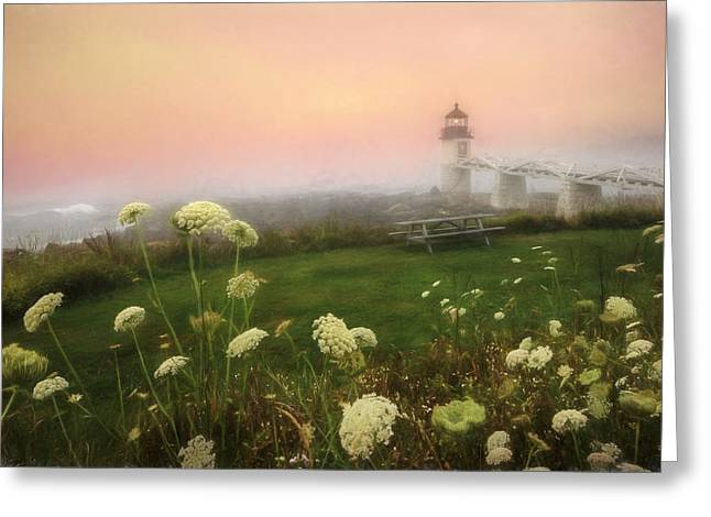 Foggy Ocean Greeting Cards - Marshall Point at Sunrise Greeting Card by Lori Deiter
