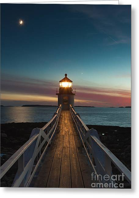 Waxing Crescent Greeting Cards - Marshall Point Light at Twilight I Greeting Card by Clarence Holmes