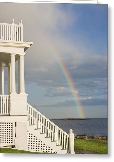 Front Steps Greeting Cards - Marshall Point Lighthouse And Rainbow in Maine Greeting Card by Keith Webber Jr