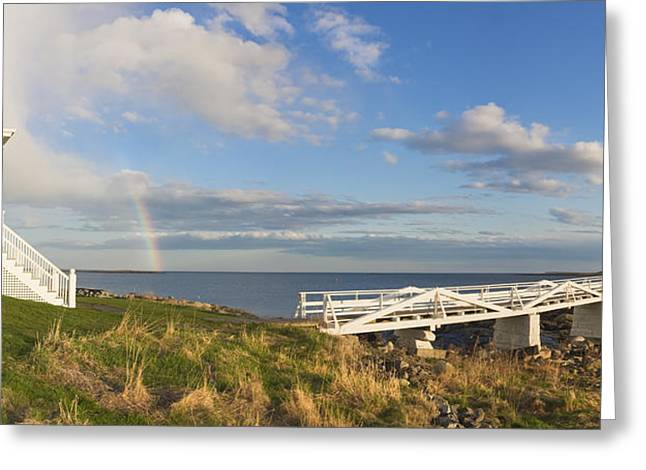 New England Lighthouse Greeting Cards - Marshall Point Lighthouse And Rainbow Panorama in Maine Greeting Card by Keith Webber Jr