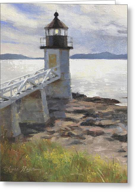 Points Paintings Greeting Cards - Marshall Point Lighthouse Greeting Card by Anna Bain