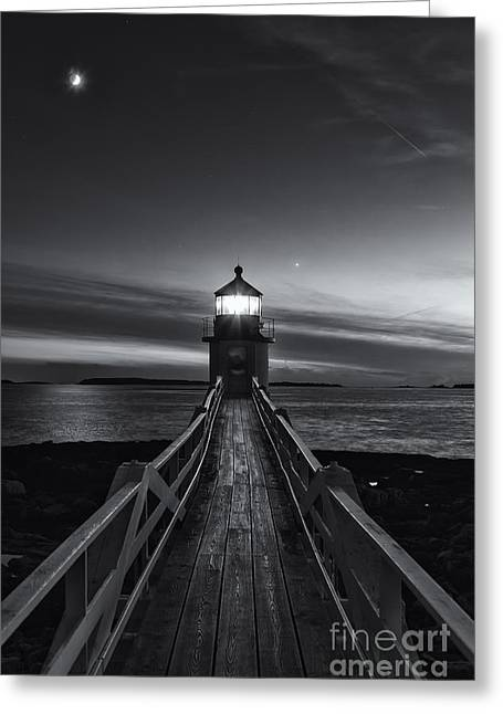 Waxing Crescent Greeting Cards - Marshall Point Lighthouse at Twilight II Greeting Card by Clarence Holmes