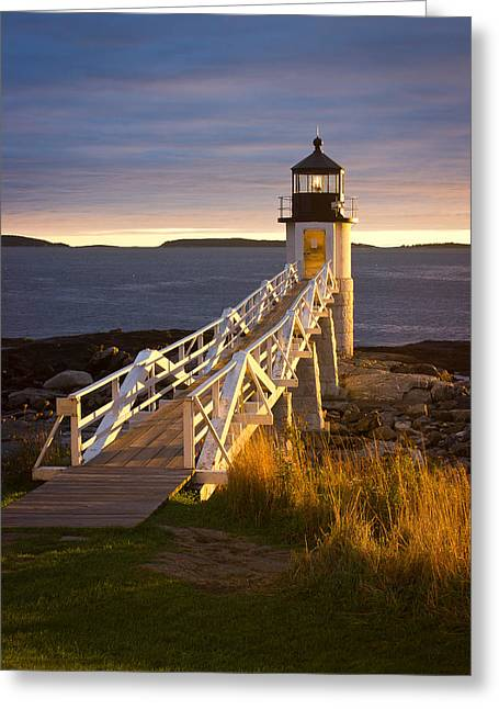 Photos Of Autumn Greeting Cards - Marshall Point Lighthouse Greeting Card by Benjamin Williamson