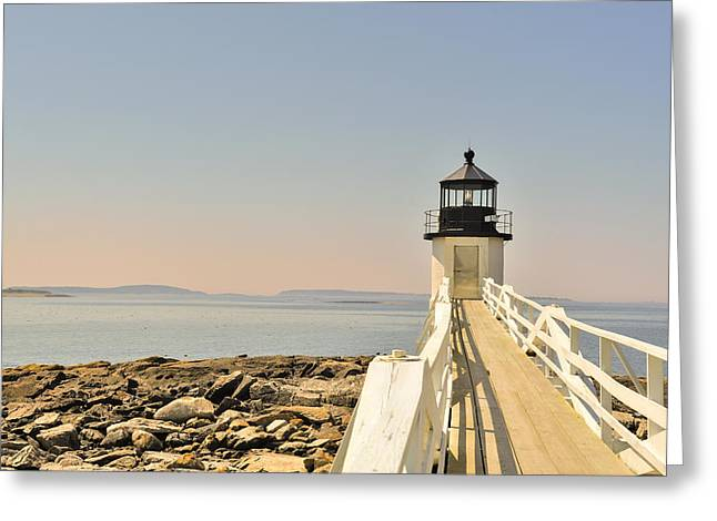 Maine Shore Greeting Cards - Marshall Point Lighthouse Maine Greeting Card by Marianne Campolongo