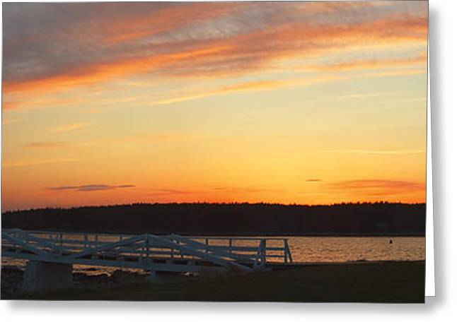 New England Lighthouse Photographs Greeting Cards - Marshall Point Lighthouse Panorama at Sunset in Maine Greeting Card by Keith Webber Jr